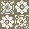Cement tile FLORA 2 - series VIA special edition - 15 x 15 - greybrown/white