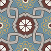 Cement tile MARGARITE - series VIA special edition - 17 x 17 - blue/grey/redbrown