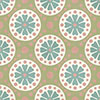 Cement tile CIRCLE- series VIA special edition - 20 x 20 - ocker/white/bluegreen