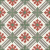 Cement tile FILIGRANI - series via special edition - 14,1 x 14,1 - white/red/ grey/ greygreen