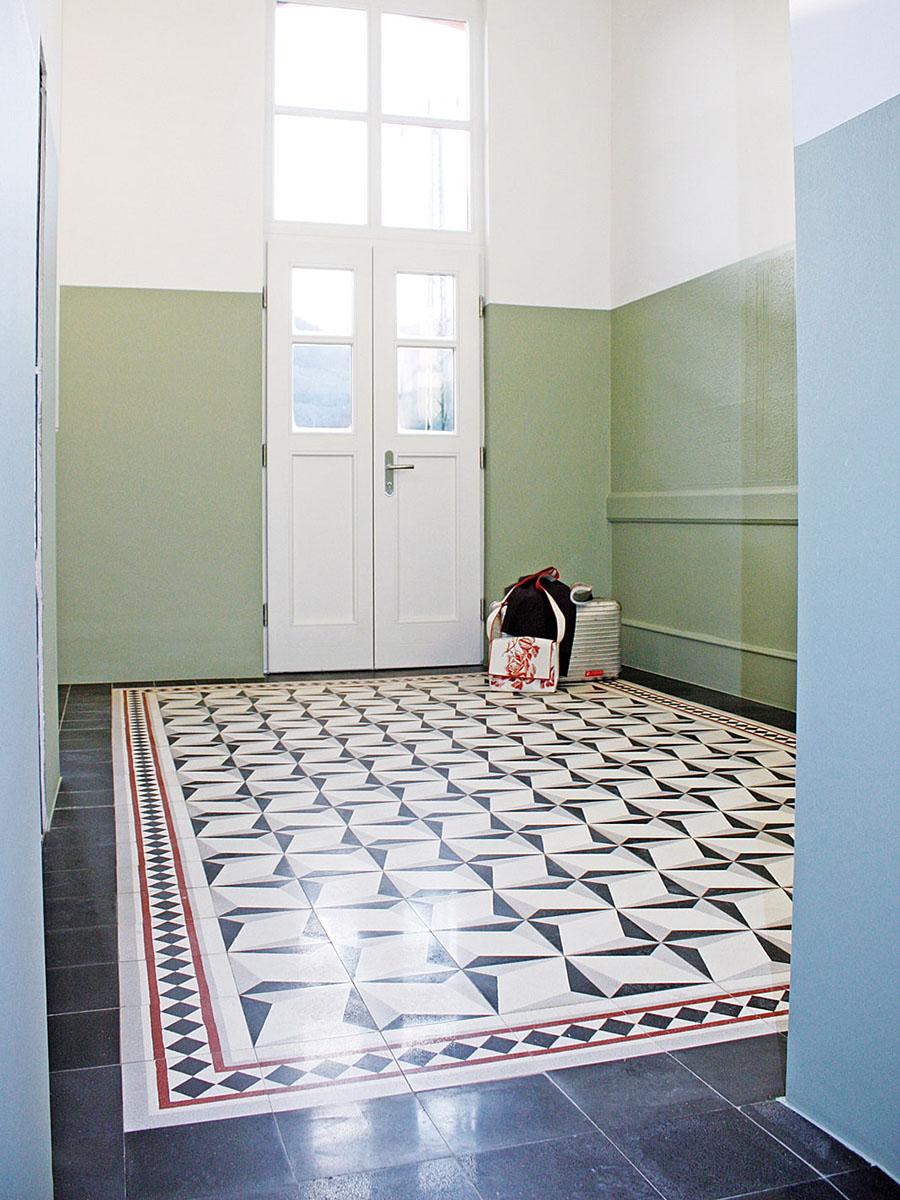 Terrazzo tile with ornament Raute, white« von Replicata