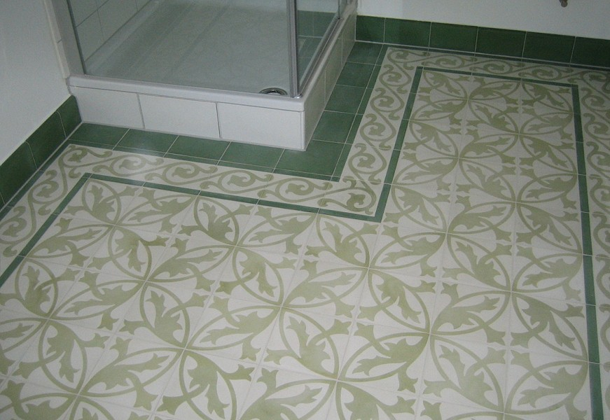 Cement Floor Tile With Flower Ornament Whitelight Green Von