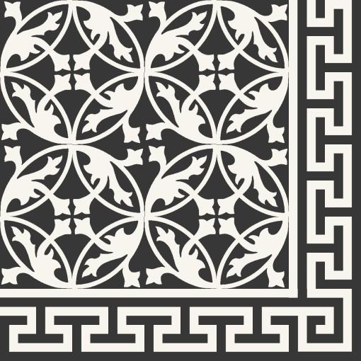 cement floor tile flower ornament black white von. Black Bedroom Furniture Sets. Home Design Ideas