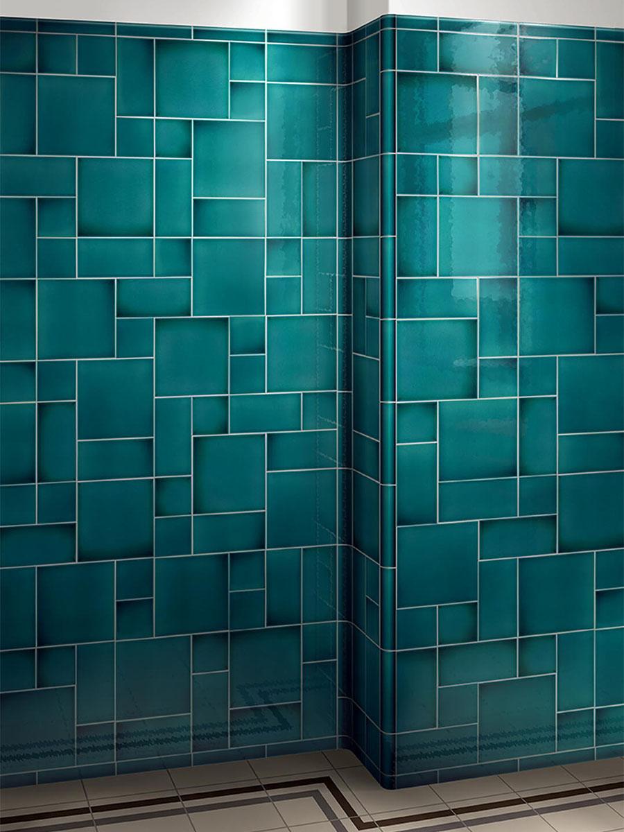 Turquoise Tile wall tile art nouveau dark turquoise« von replicata - 150 x 150 x